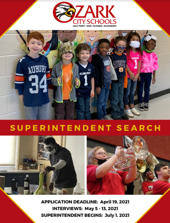 Superintendent Search Flier with students in CTE Class and students playing instruments